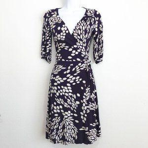 H&M Leaf Print Wrap Dress Women's Size 4 Purple